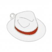 Chapéu Resinado Níquel - Branco e Vermelho - 22mm