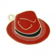 Chapéu Resinado Dourado - Vermelho e Preto - 22mm