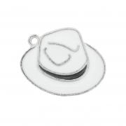Chapéu Resinado Níquel - Branco e Preto - 16mm