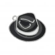 Chapéu Resinado Níquel - Preto e Branco - 16mm