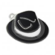 Chapéu Resinado Níquel - Preto e Branco - 22mm