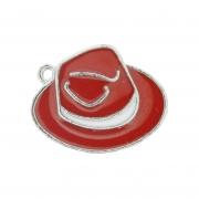 Chapéu Resinado Níquel - Vermelho e Branco - 16mm