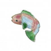 Cloisonné - Entremeio - Peixe - Rosa e Azul