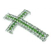 Crucifixo Curvo para Pulseira - Metal com Strass - Níquel - 4,1cm - 01 Peça