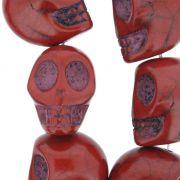 Fio de Caveira de Pedra - Vermelha - Grande - 22x17mm