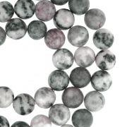 Fio de Pedra - Pietra® - Jaspe Cinza Mesclada - 8mm