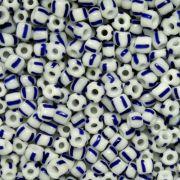 Miçanga 6/0 - 4.0x3.0mm - Branca e Azul