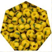 Miçanga Jablonex / Preciosa® - 5/0 [4,6mm] -  Amarelo Rajada de Verde - 500g