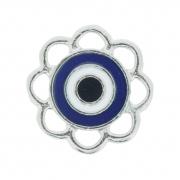 Olho Grego Flor - Níquel e Resina - Azul