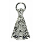 Pingente - Metal - Nossa Senhora Aparecida - Níquel - 4,0cm - 01 Peça