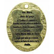 Pingente - Metal - Oração Ave Maria - Dourado - 5,3cm - 01 Peça