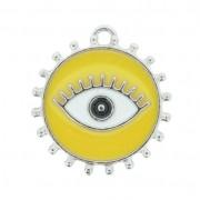 Pingente Olho Grego - Níquel e Resina - Amarelo