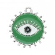 Pingente Olho Grego - Níquel e Resina - Verde