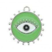 Pingente Olho Grego - Níquel e Resina - Verde Claro