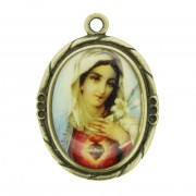Sagrado Coração de Maria - Ouro Velho e Resina - 42mm