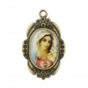 Sagrado Coração de Maria - Ouro Velho e Resina - 42x26mm
