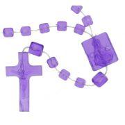Terço de Plástico - Roxo Transparente - 35cm