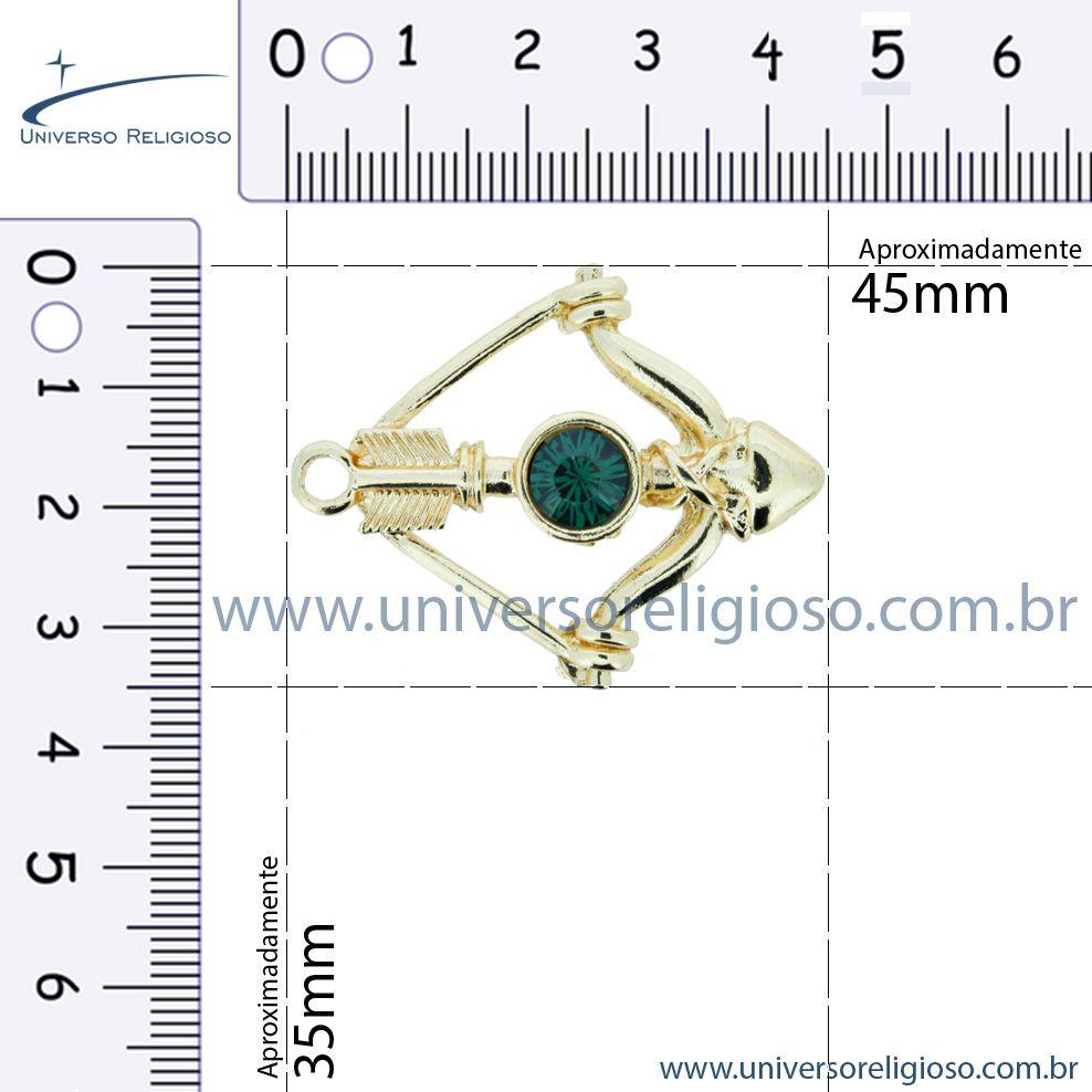 Arco e Flecha - Dourado com Strass - 45mm  - Universo Religioso® - Artigos de Umbanda e Candomblé