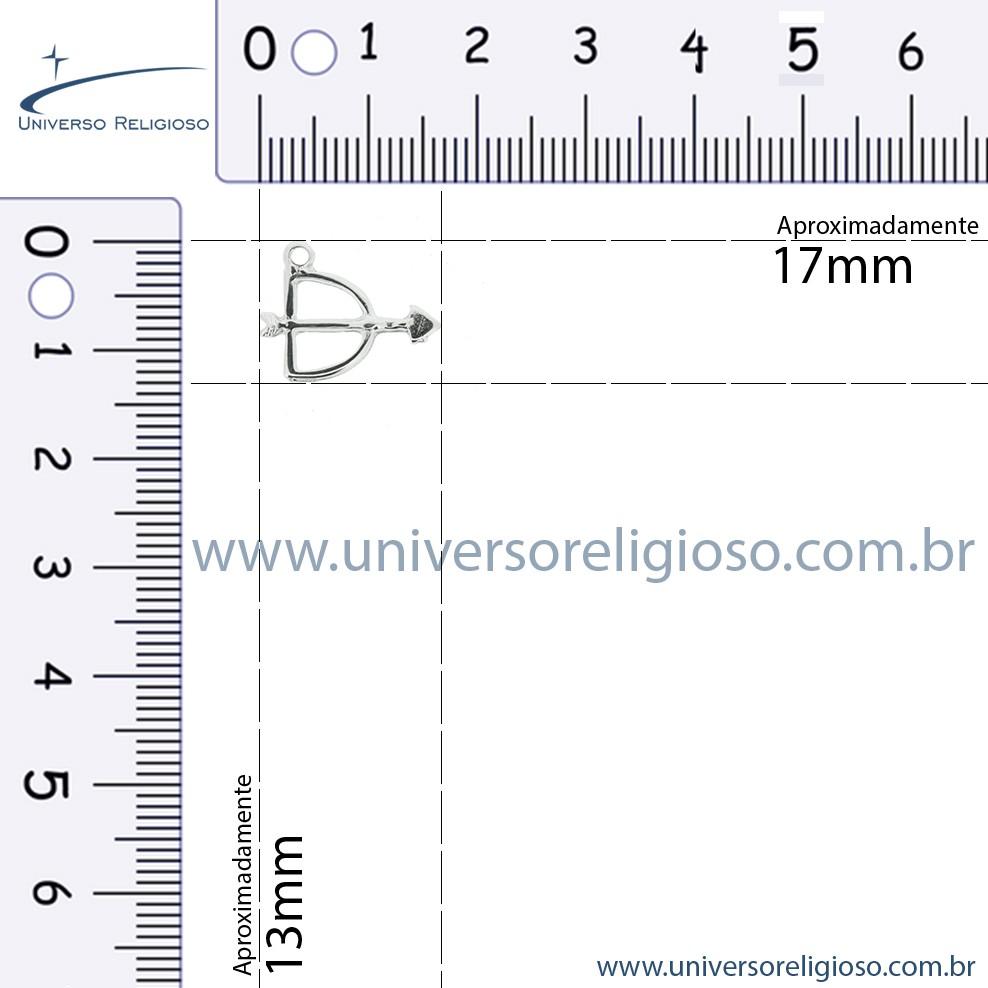 Arco e Flecha - Níquel - 13mm  - Universo Religioso® - Artigos de Umbanda e Candomblé