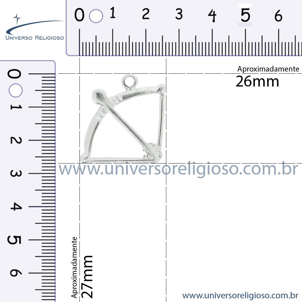 Arco e Flecha - Níquel - 27mm  - Universo Religioso® - Artigos de Umbanda e Candomblé