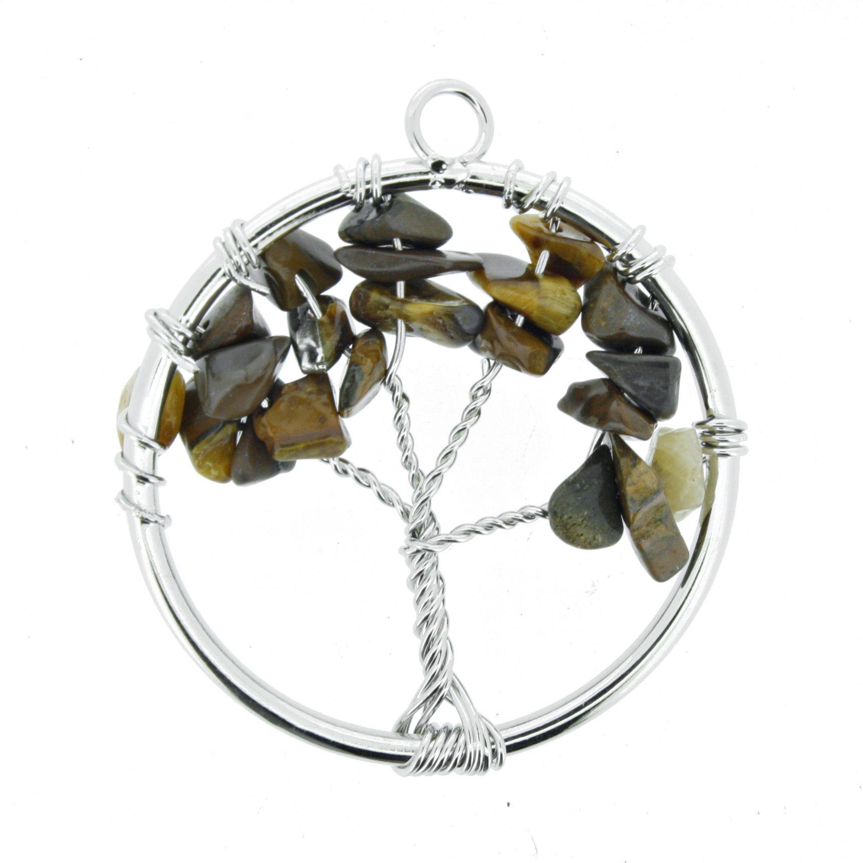 Árvore da Vida de Arame com Pedra - Olho de Tigre - 40mm  - Universo Religioso® - Artigos de Umbanda e Candomblé
