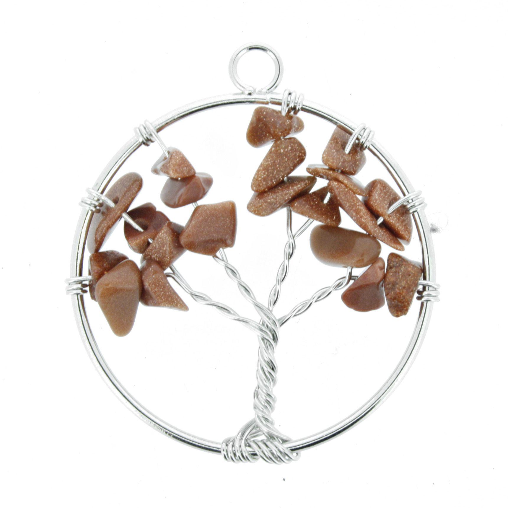Árvore da Vida de Arame com Pedra - Pedra do Sol - 40mm  - Universo Religioso® - Artigos de Umbanda e Candomblé