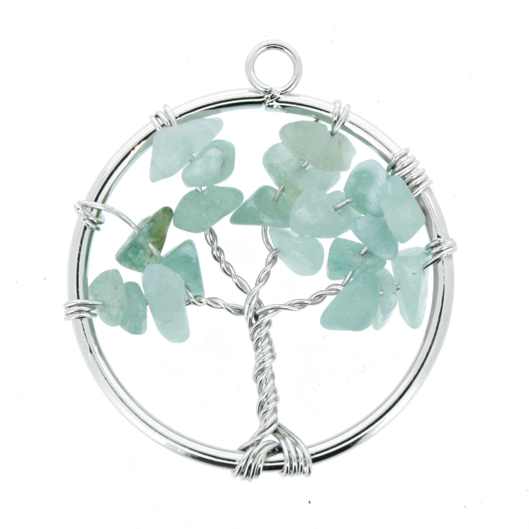 Árvore da Vida de Arame com Pedra - Quartzo Verde - 40mm  - Universo Religioso® - Artigos de Umbanda e Candomblé