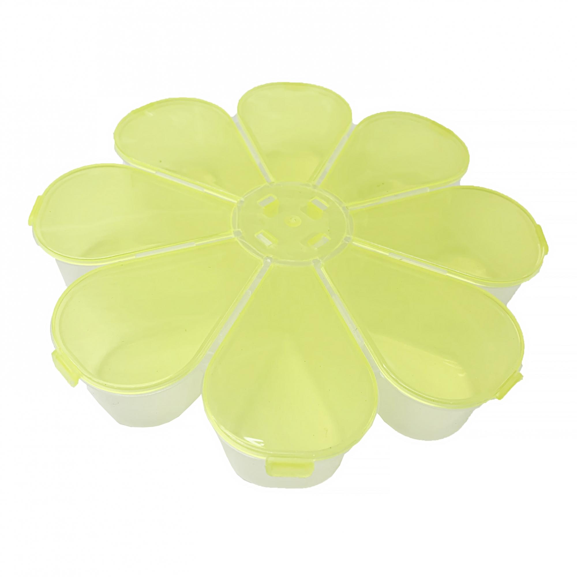 Caixa Organizadora Flor - Amarela Transparente  - Universo Religioso® - Artigos de Umbanda e Candomblé