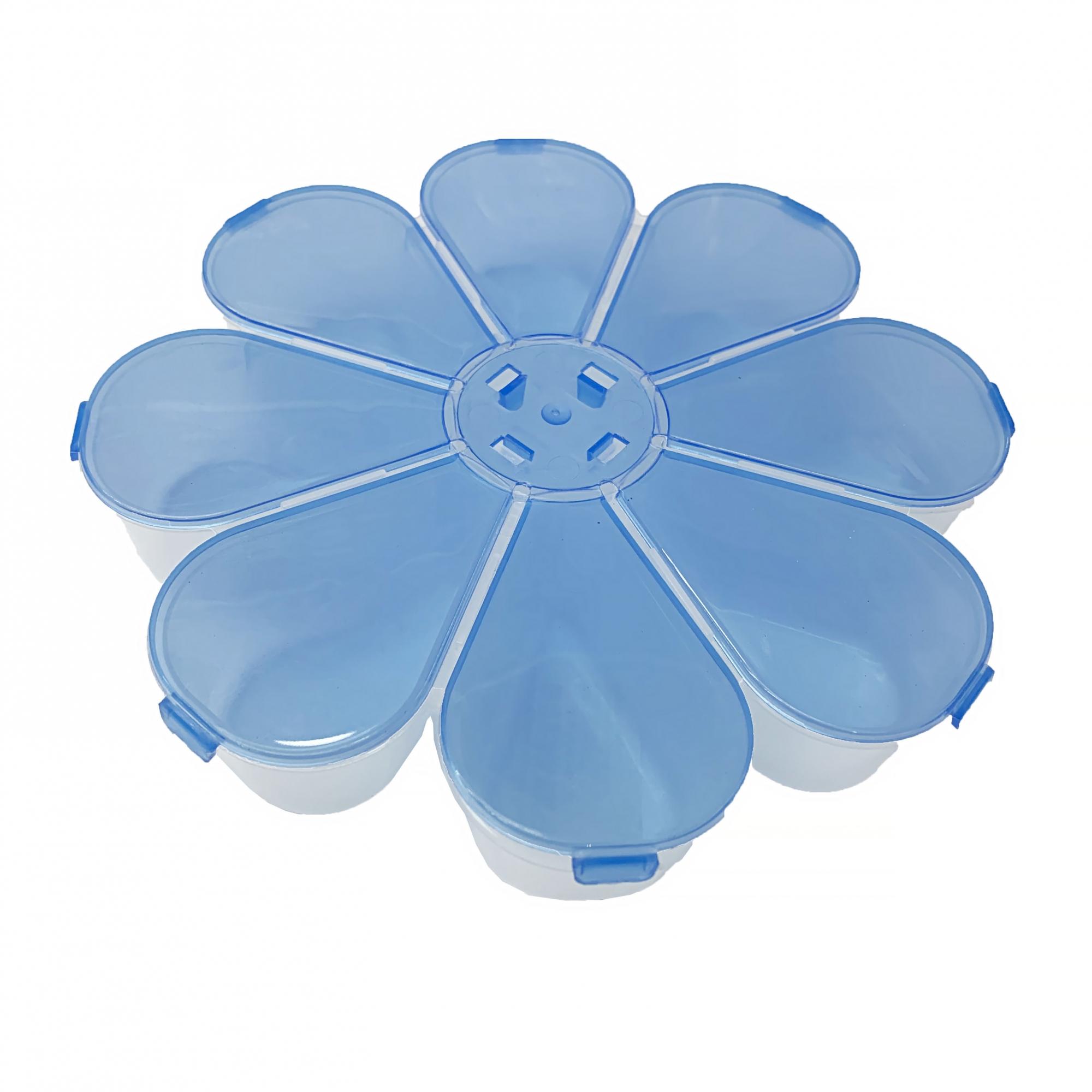 Caixa Organizadora Flor - Azul Transparente  - Universo Religioso® - Artigos de Umbanda e Candomblé