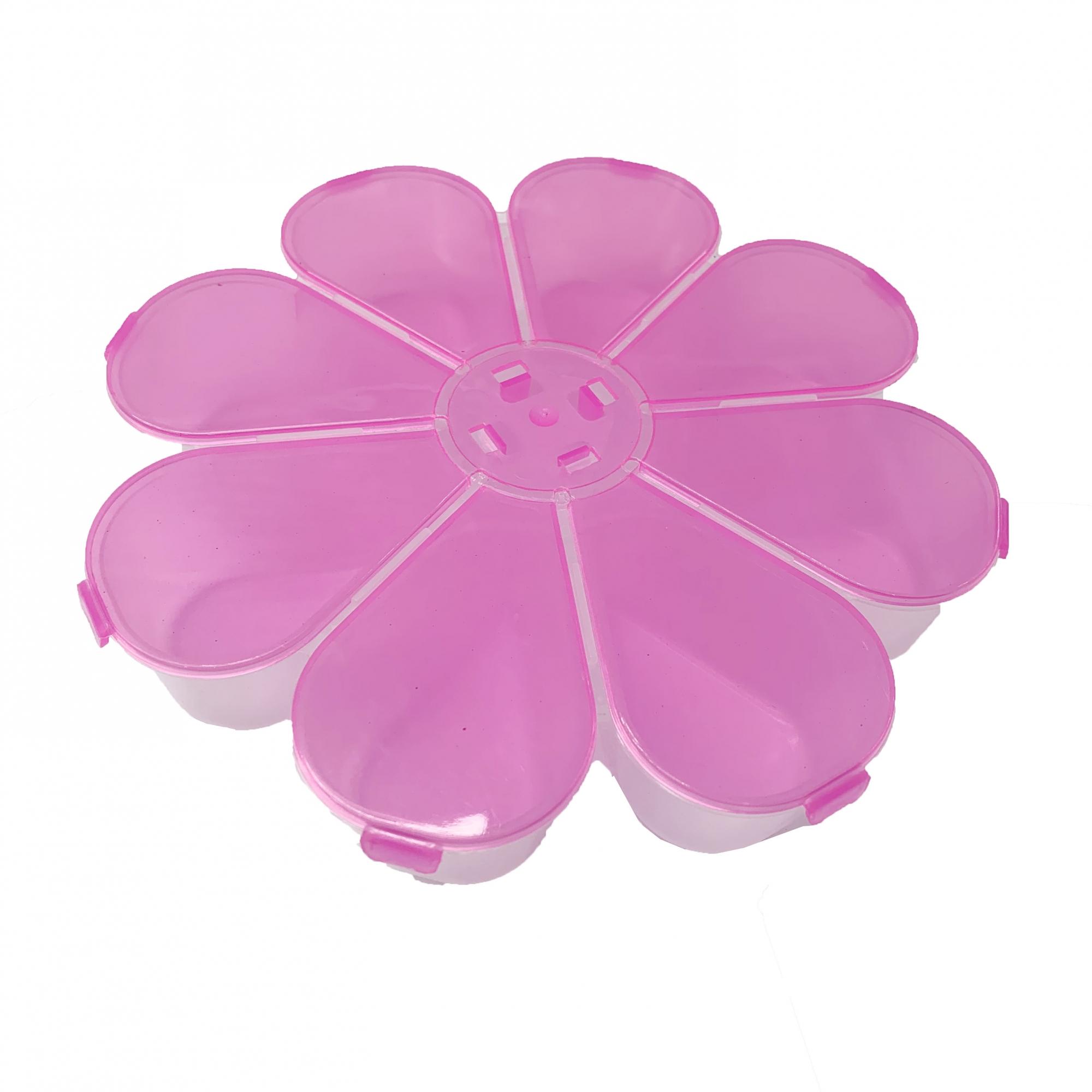 Caixa Organizadora Flor - Rosa Transparente  - Universo Religioso® - Artigos de Umbanda e Candomblé