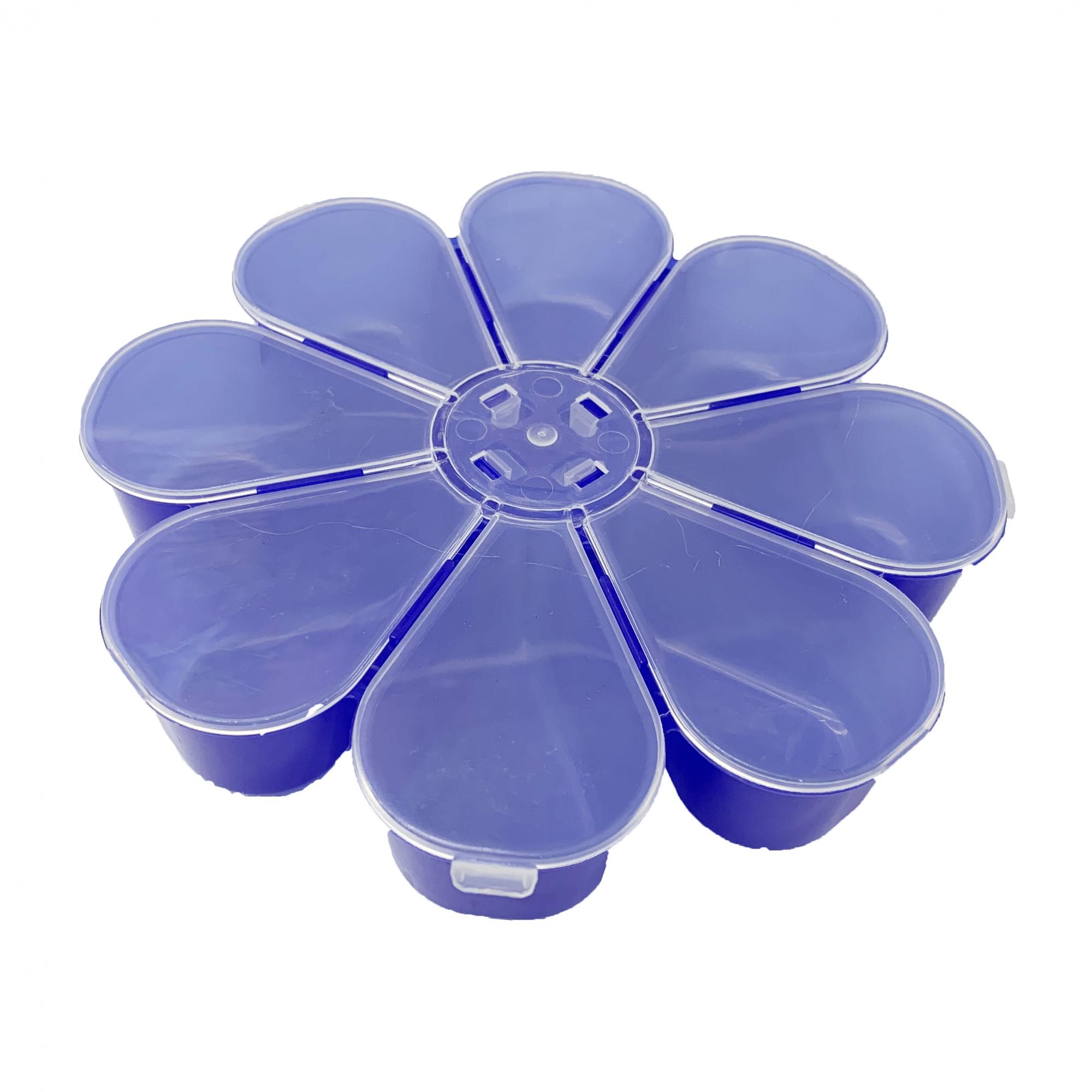 Caixa Organizadora Flor - Transparente e Azul  - Universo Religioso® - Artigos de Umbanda e Candomblé