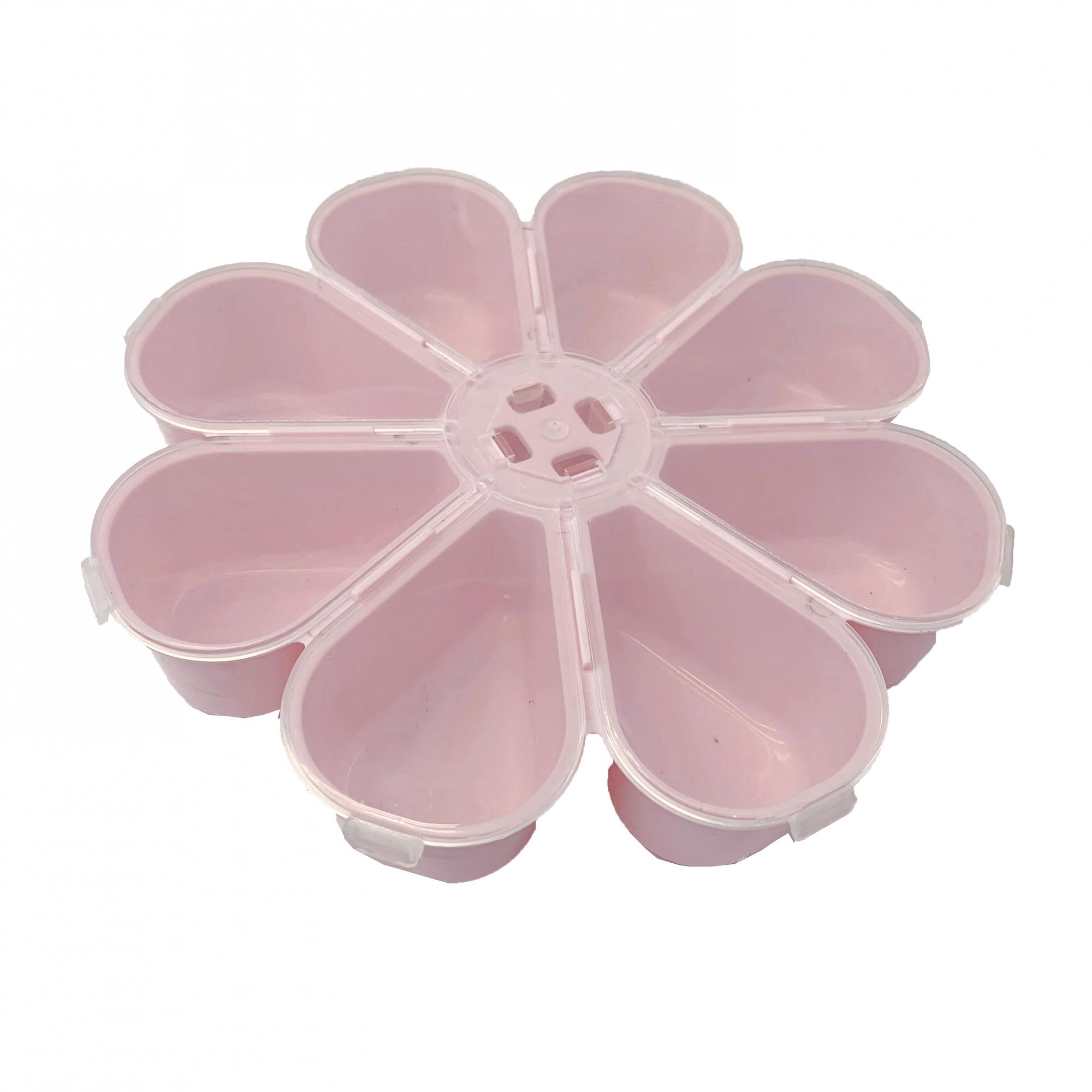 Caixa Organizadora Flor - Transparente e Rosa Bebê  - Universo Religioso® - Artigos de Umbanda e Candomblé