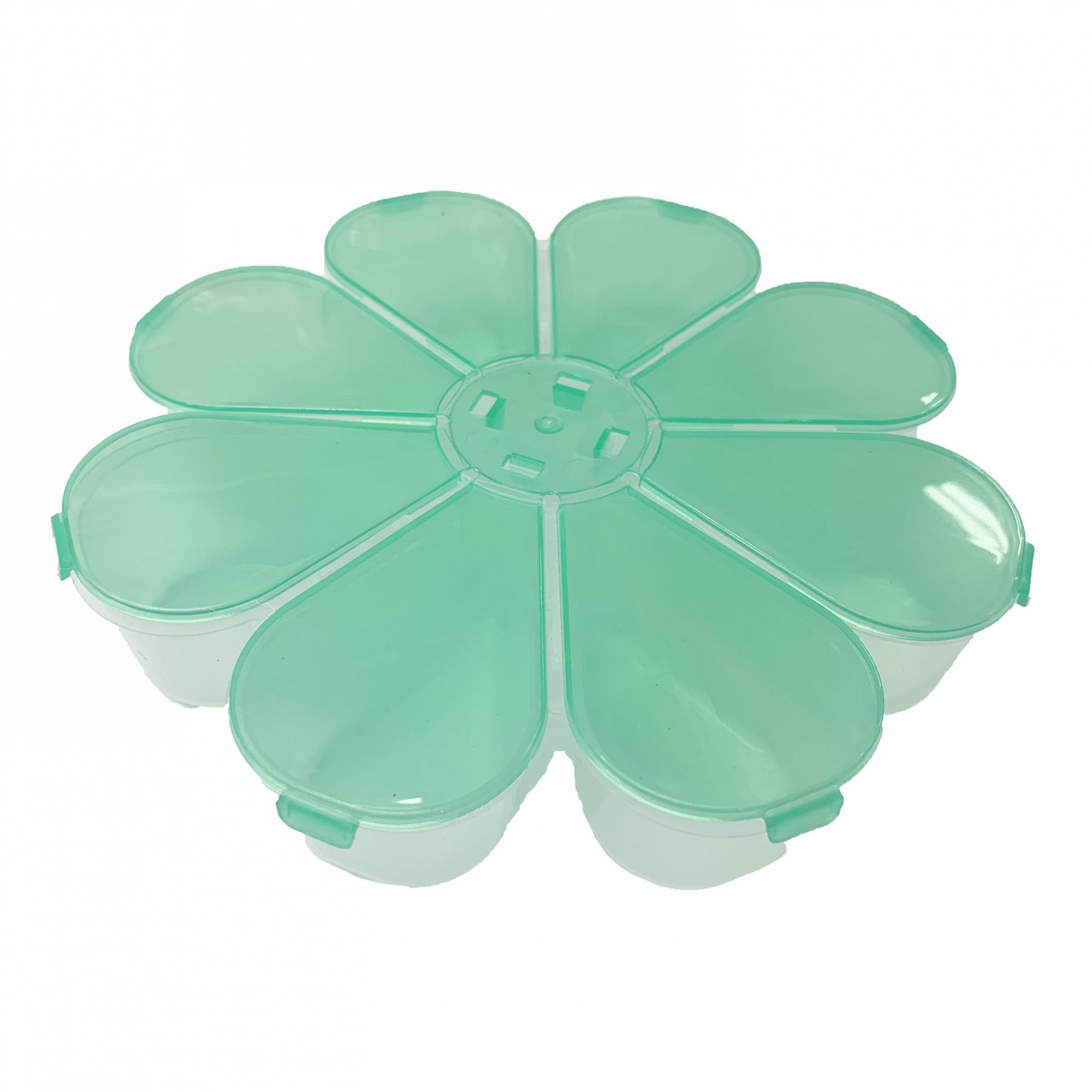 Caixa Organizadora Flor - Verde Transparente  - Universo Religioso® - Artigos de Umbanda e Candomblé