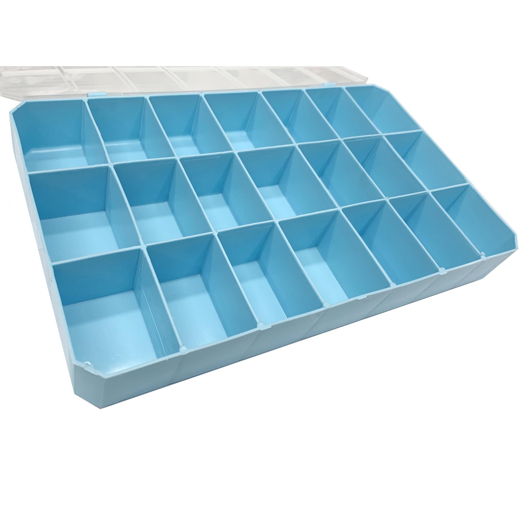 Caixa Organizadora - Transparente e Azul Clara  - Universo Religioso® - Artigos de Umbanda e Candomblé