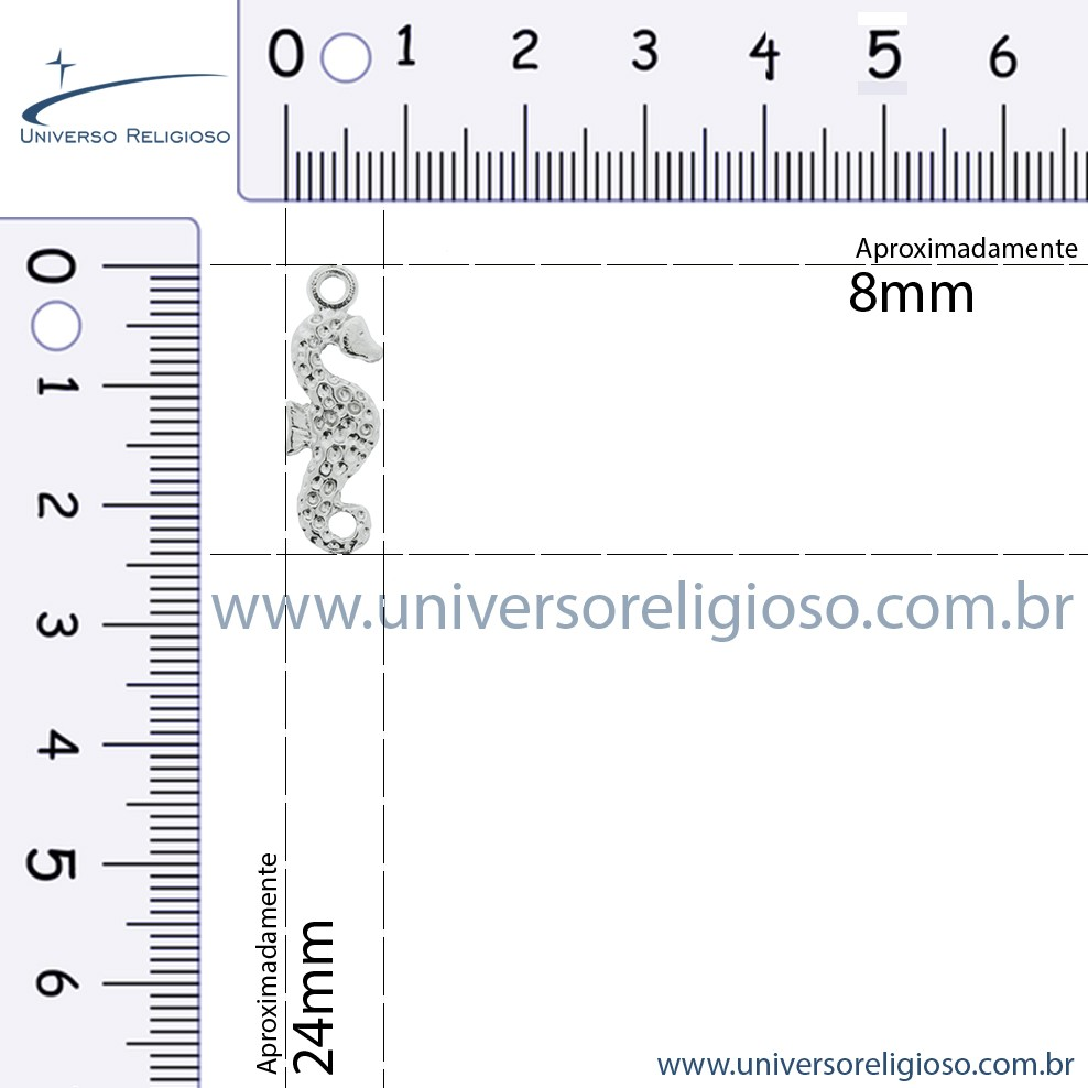 Cavalo Marinho - Níquel - 25mm  - Universo Religioso® - Artigos de Umbanda e Candomblé