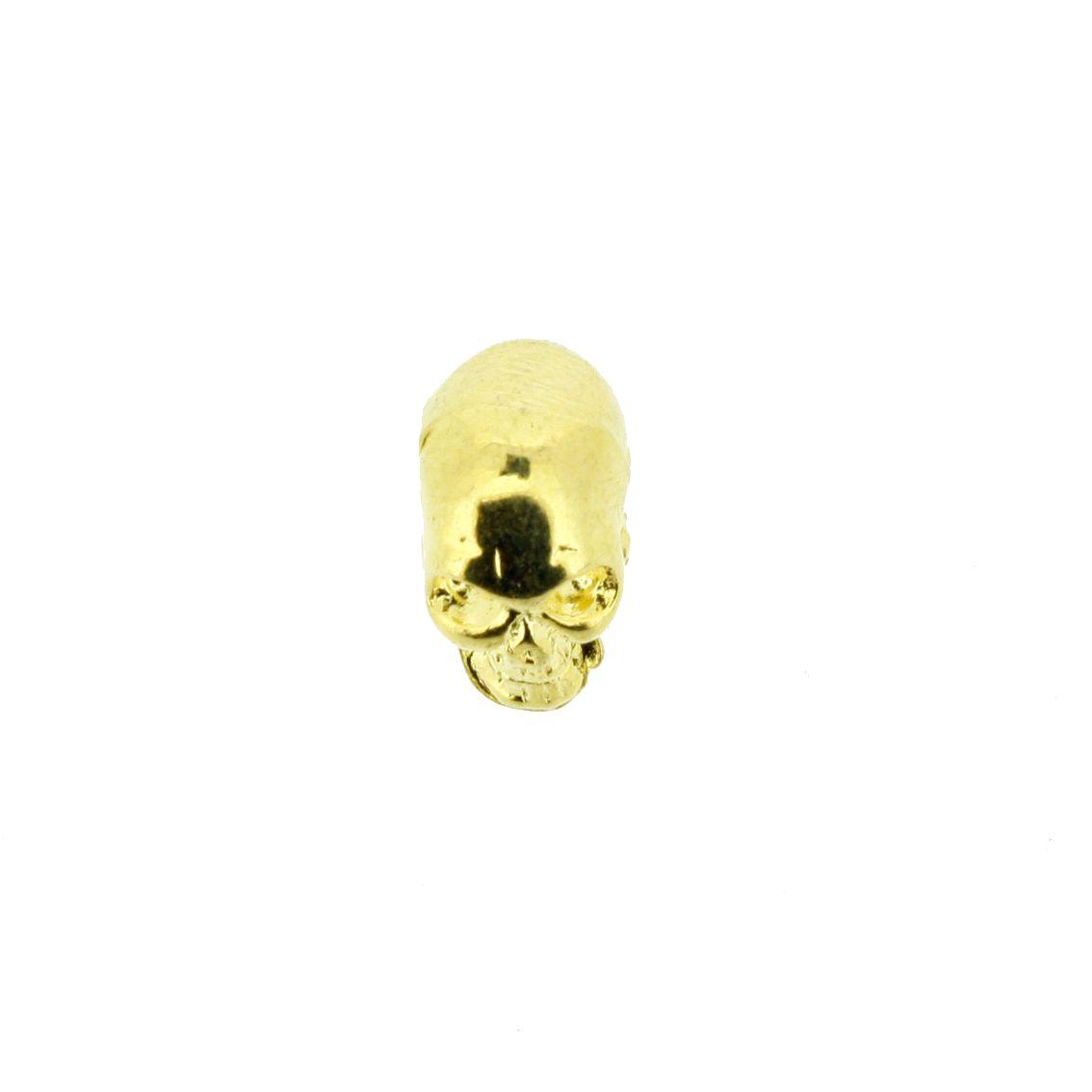 Caveira - Dourada - 13mm - 01 Peça  - Universo Religioso® - Artigos de Umbanda e Candomblé