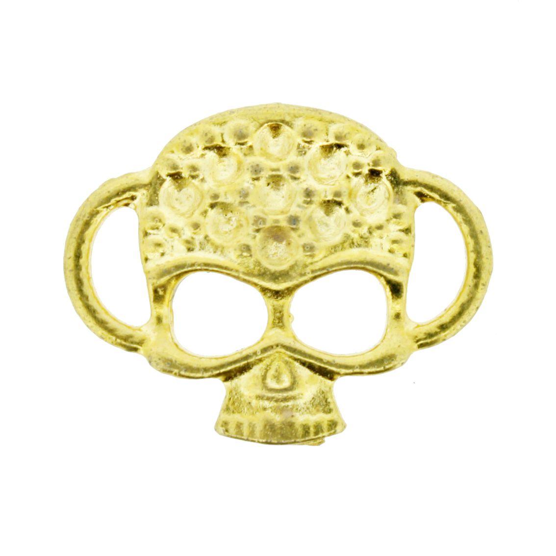 Caveira - Dourada - 20mm - 01 Peça  - Universo Religioso® - Artigos de Umbanda e Candomblé