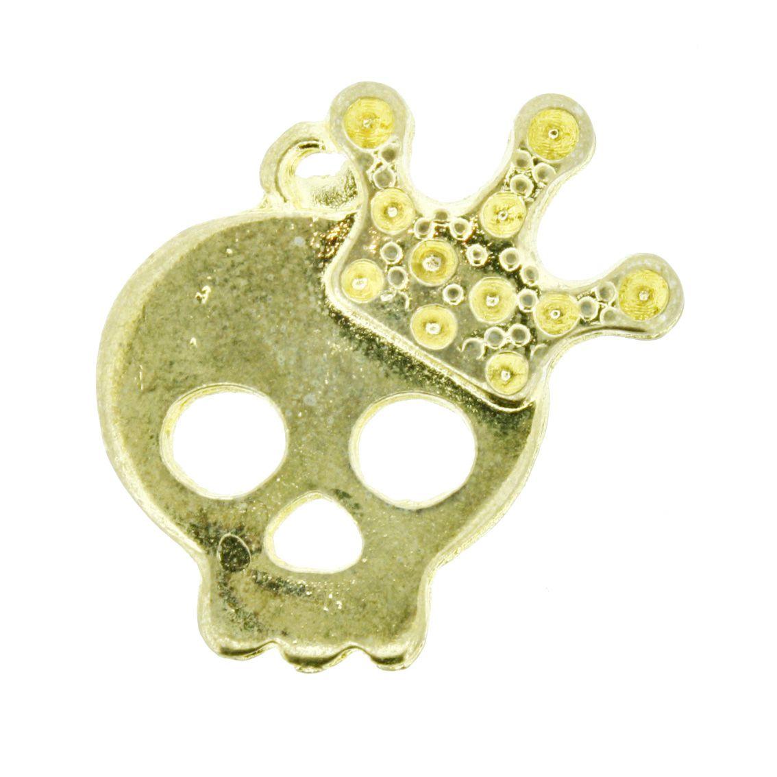 Caveira - Dourada - 25mm - 01 Peça  - Universo Religioso® - Artigos de Umbanda e Candomblé
