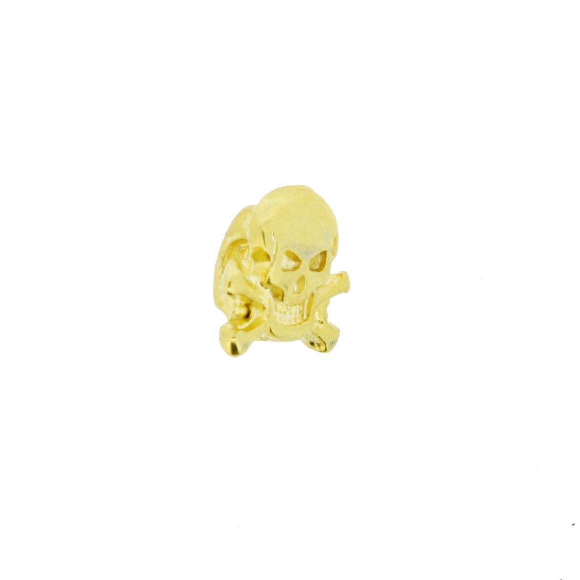 Caveira - Dourado - 10mm - 01 Peça  - Universo Religioso® - Artigos de Umbanda e Candomblé