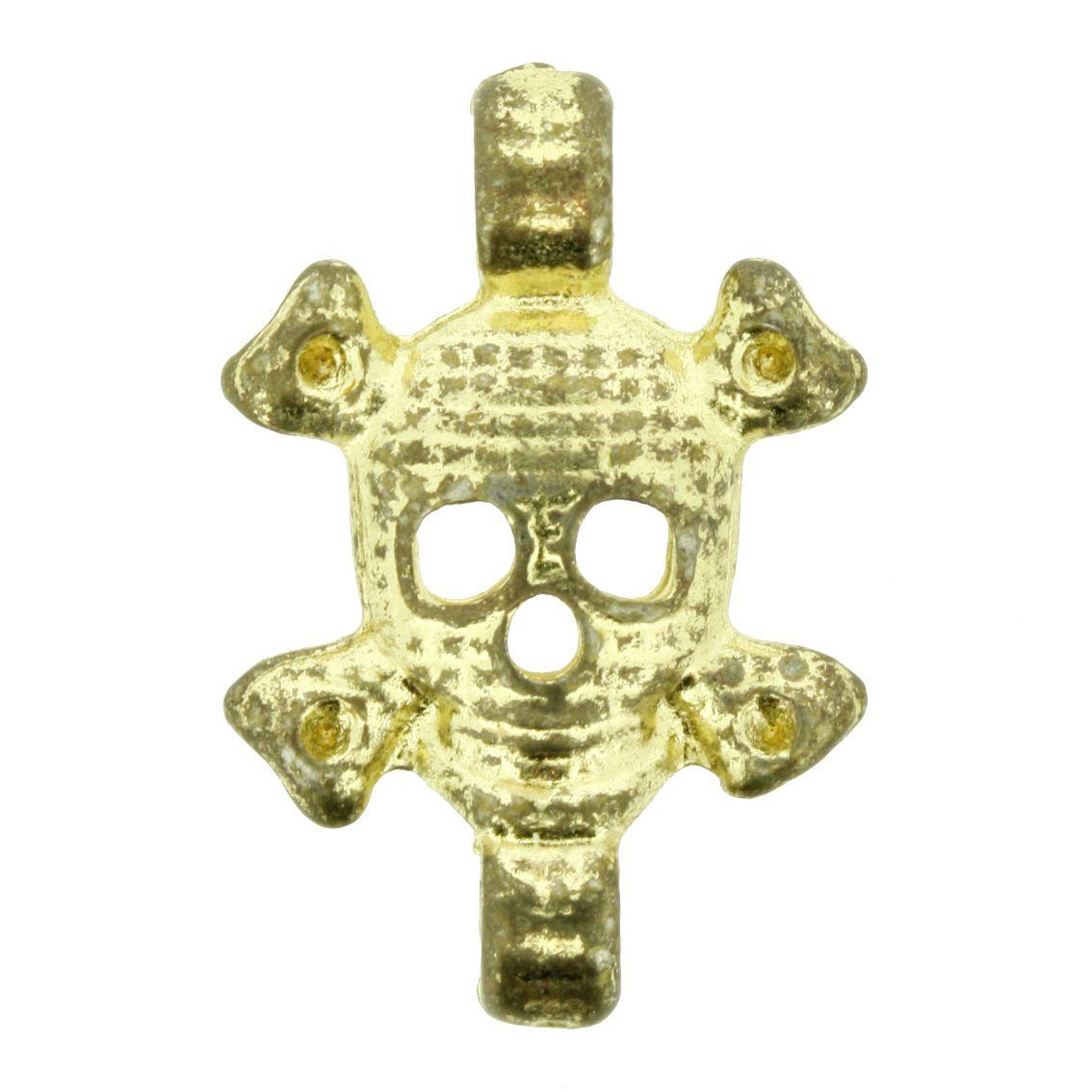 Caveira - Dourado - 28mm - 01 Peça  - Universo Religioso® - Artigos de Umbanda e Candomblé