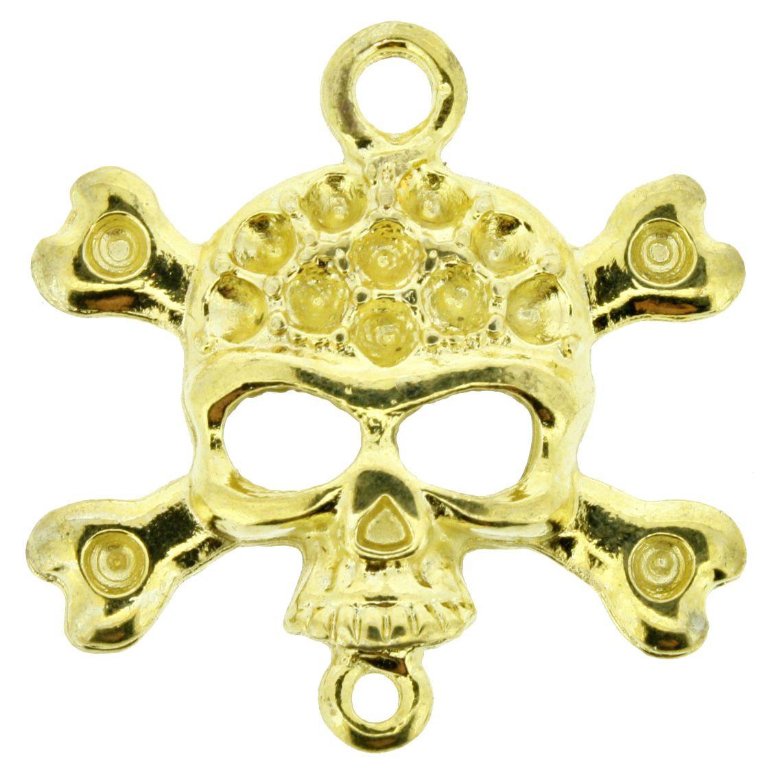 Caveira - Dourado - 30mm - 01 Peça  - Universo Religioso® - Artigos de Umbanda e Candomblé