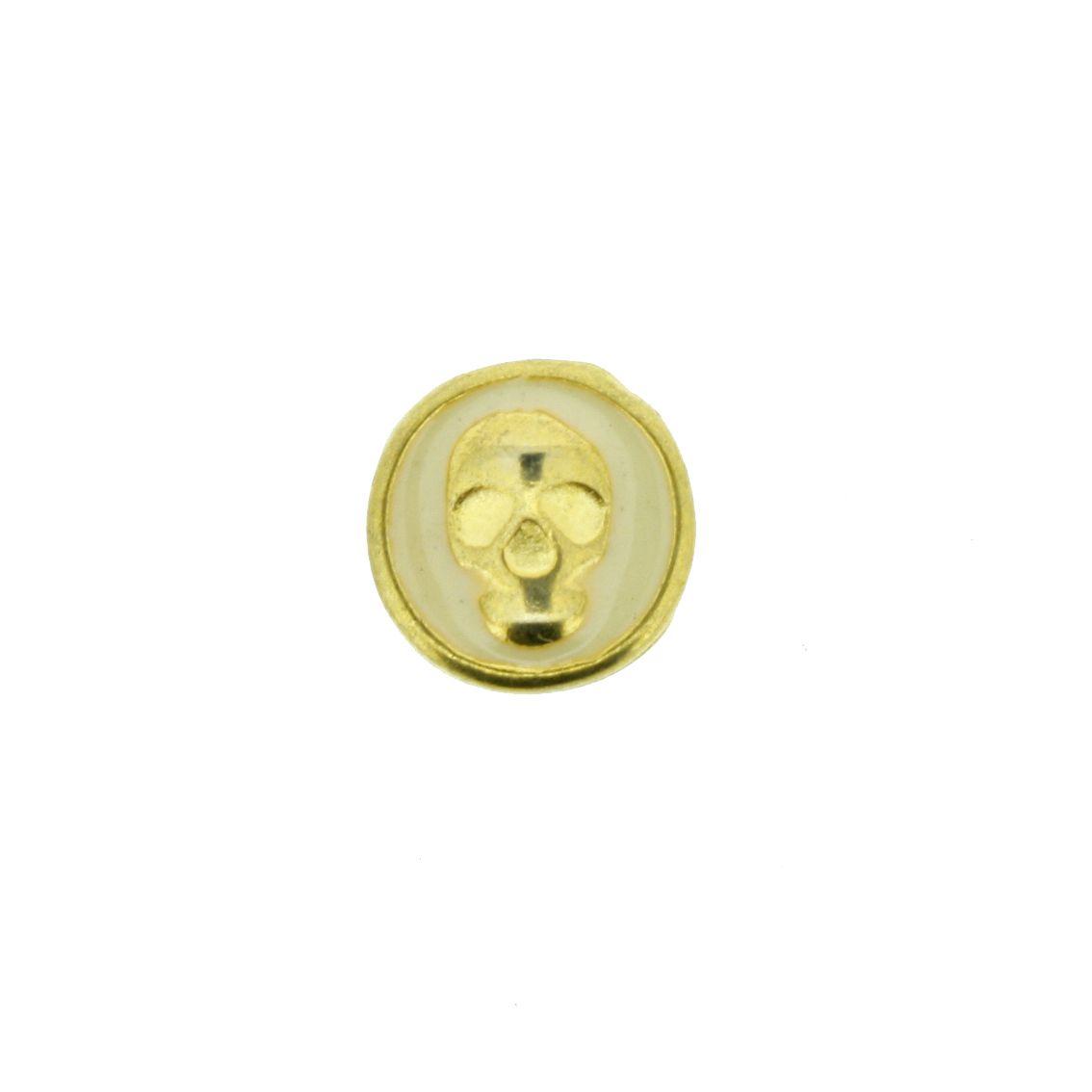 Caveira - Dourado com Creme - 9mm - 01 Peça  - Universo Religioso® - Artigos de Umbanda e Candomblé