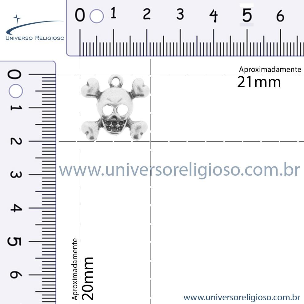Caveira - Níquel - 20mm  - Universo Religioso® - Artigos de Umbanda e Candomblé