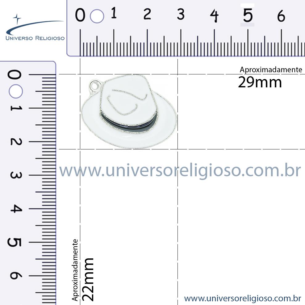 Chapéu Resinado Níquel - Branco e Preto - 22mm  - Universo Religioso® - Artigos de Umbanda e Candomblé