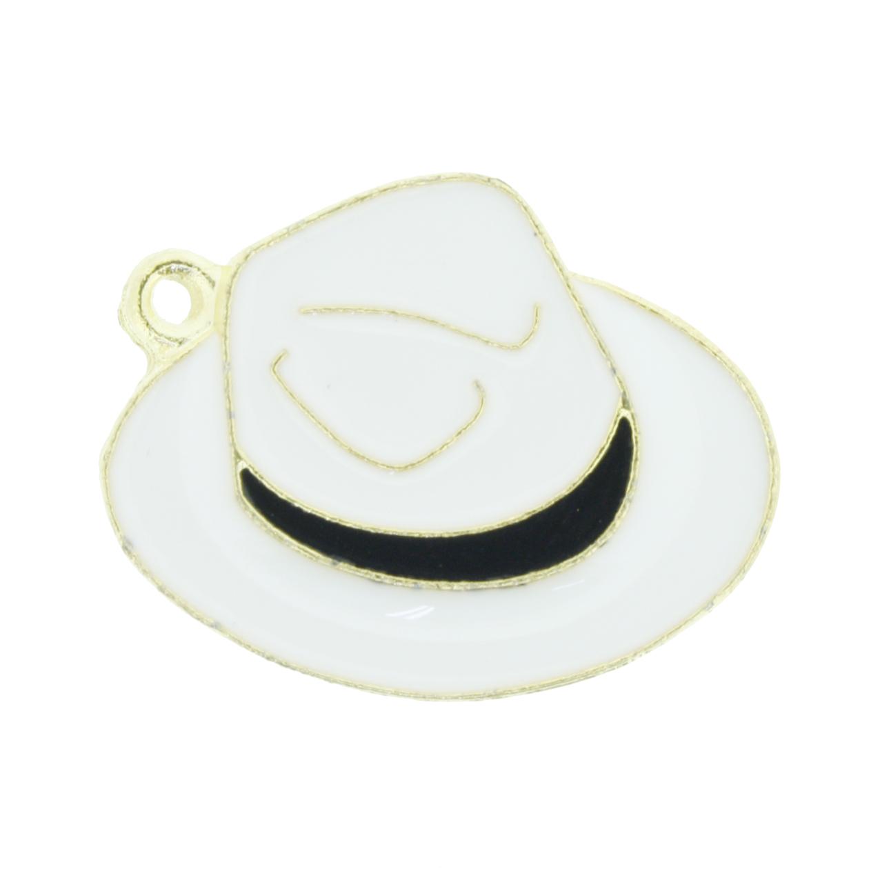 Chapéu Resinado Dourado - Branco e Preto - 22mm  - Universo Religioso® - Artigos de Umbanda e Candomblé