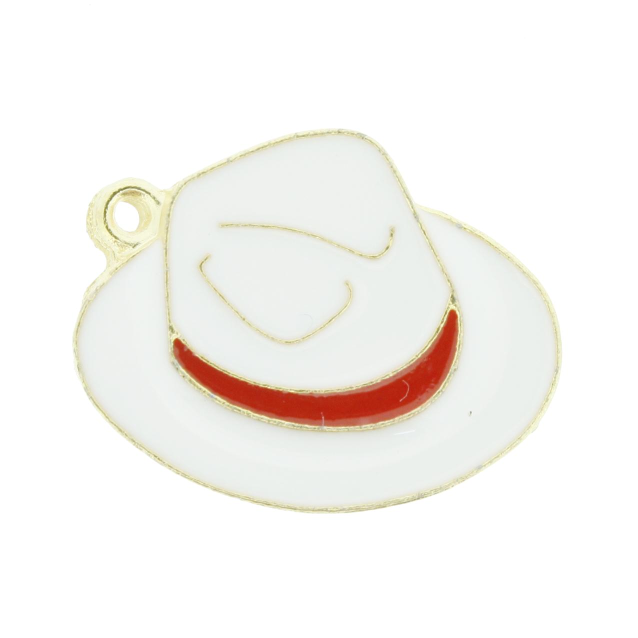 Chapéu Resinado Dourado - Branco e Vermelho - 22mm  - Universo Religioso® - Artigos de Umbanda e Candomblé