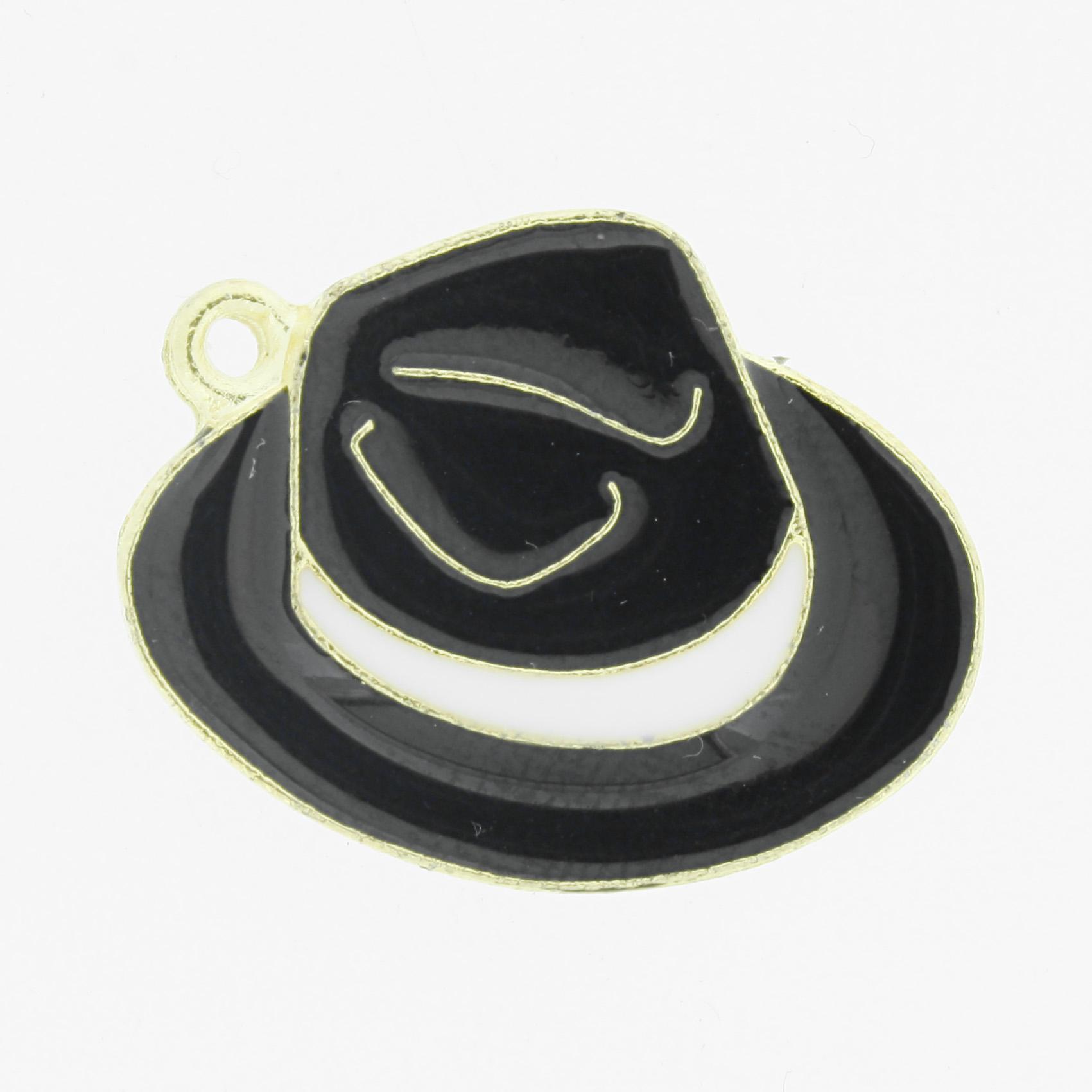Chapéu Resinado Dourado - Preto e Branco - 22mm  - Universo Religioso® - Artigos de Umbanda e Candomblé