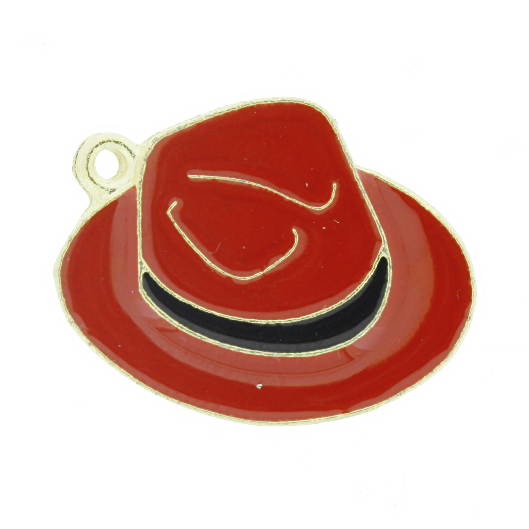 Chapéu Resinado Dourado - Vermelho e Preto - 22mm  - Universo Religioso® - Artigos de Umbanda e Candomblé