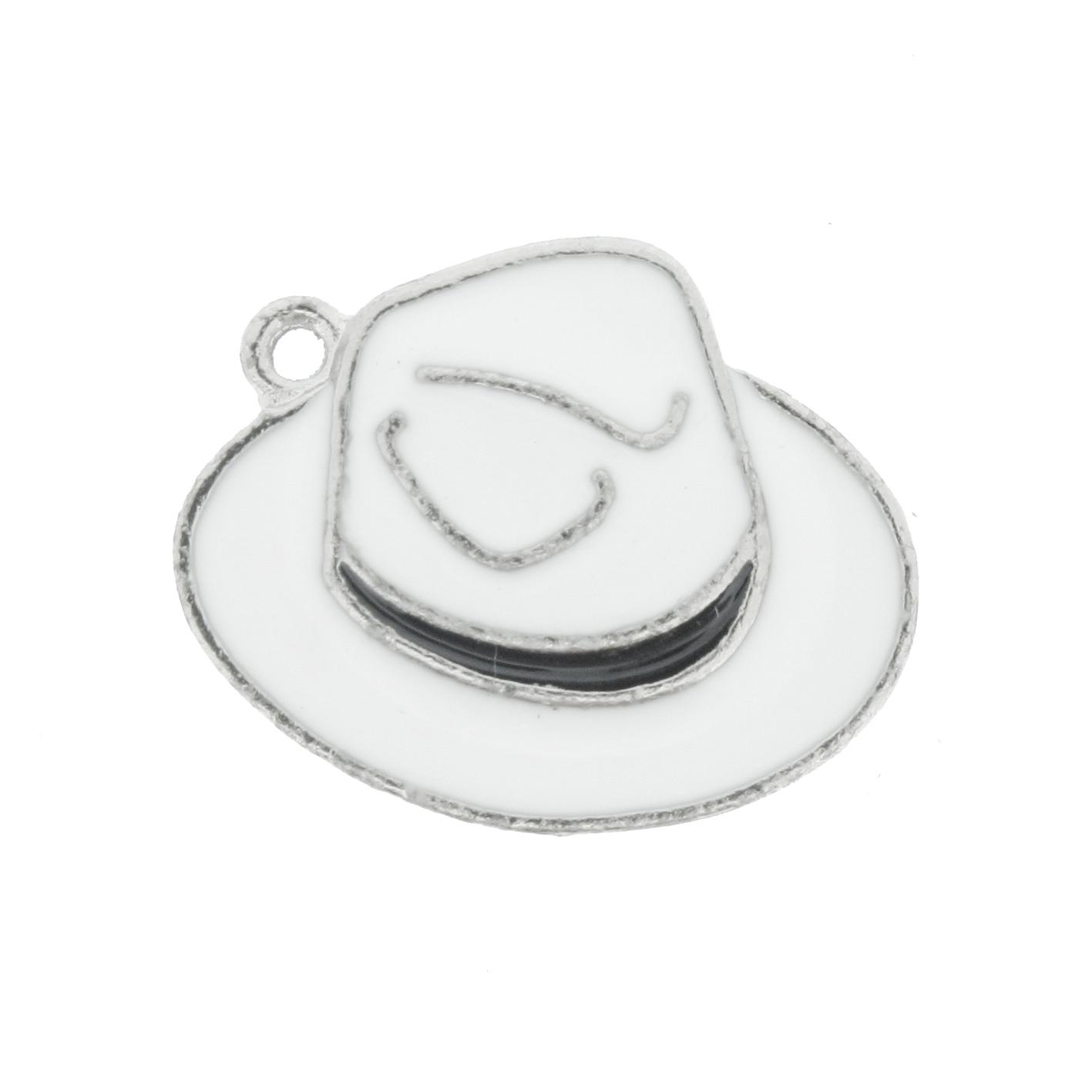 Chapéu Resinado Níquel - Branco e Preto - 16mm  - Universo Religioso® - Artigos de Umbanda e Candomblé