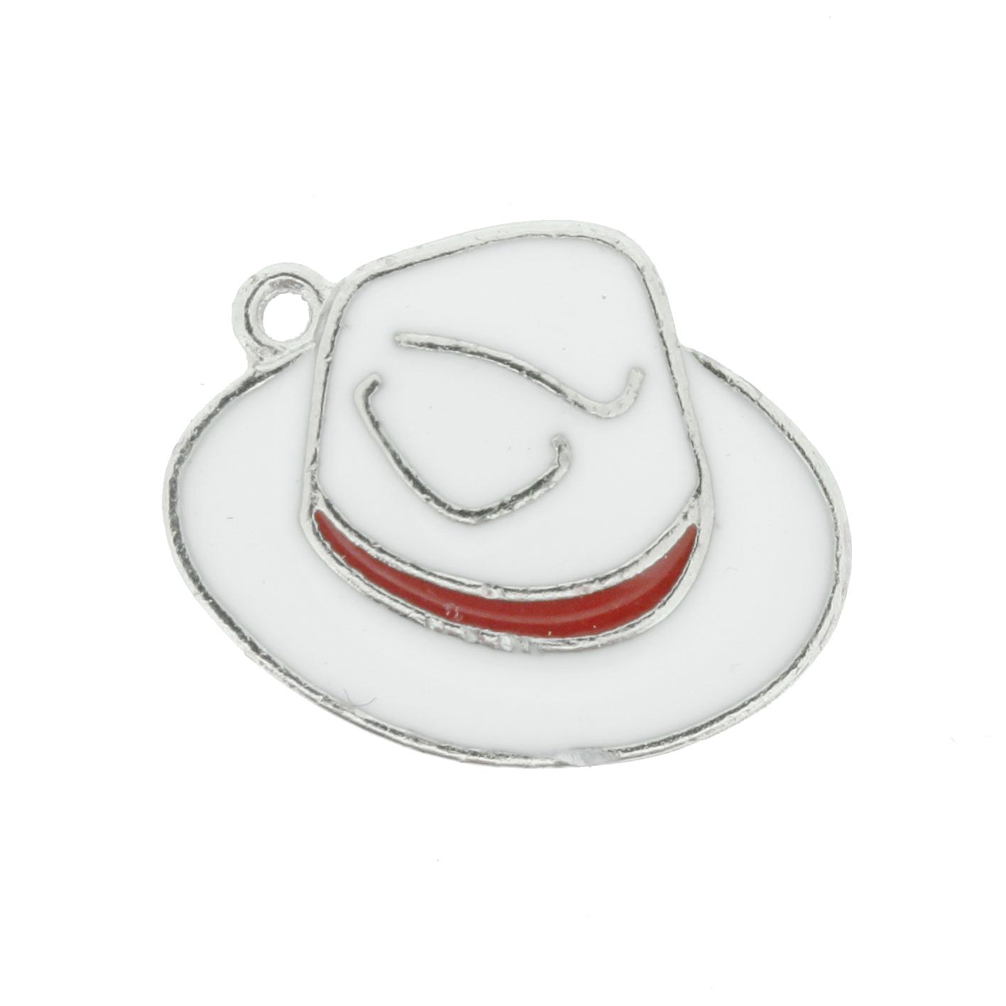 Chapéu Resinado Níquel - Branco e Vermelho - 16mm  - Universo Religioso® - Artigos de Umbanda e Candomblé